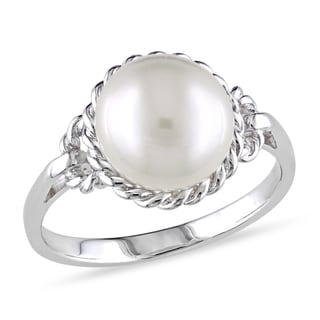 Miadora Sterling Silver Pearl Ring (9-9.5 mm)