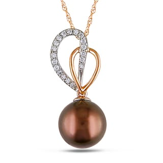 Miadora 14k Two-tone Gold Tahitian Pearl and 1/8ct TDW Diamond Necklace (I1-I2)