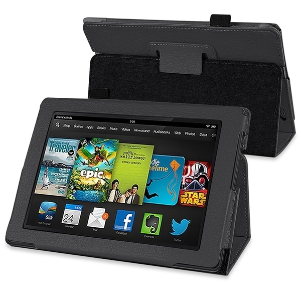 INSTEN Black Stand Leather Phone Case Cover for Amazon Kindle Fire HD 7-inch