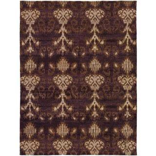 Hand-spun Sagano Belachan Chocolate/ Tan Rug (8' x 11')