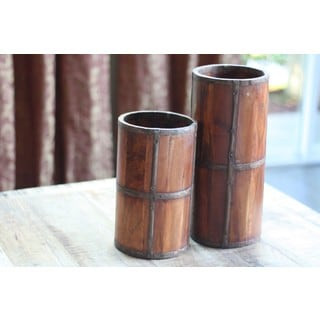 Handcrafted Rustic Wood Umbrella Stand (India)
