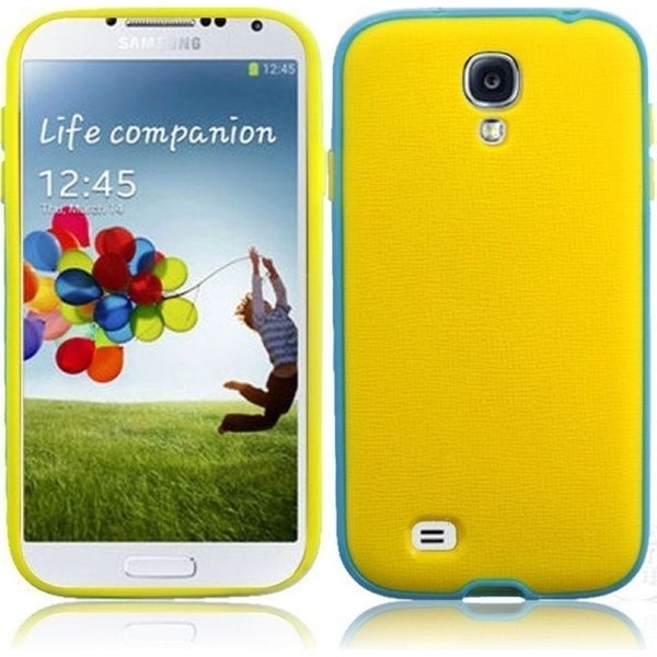 INSTEN Yellow/ Light Blue PC Soft Silicone Phone Case Cover for Samsung Galaxy S4 LTE/ S4