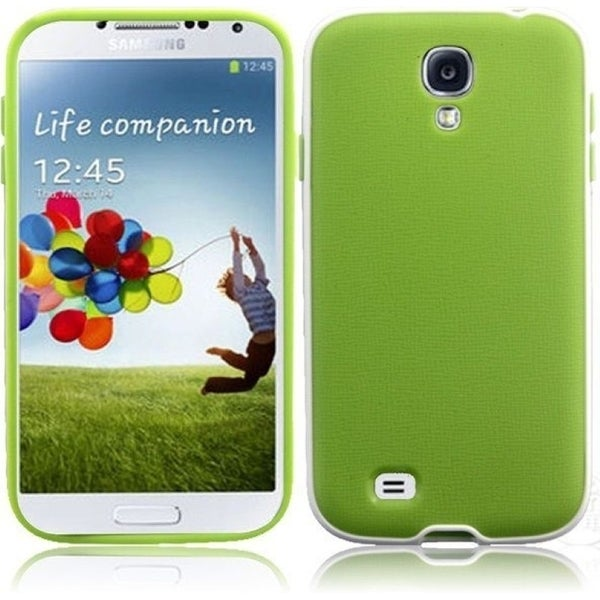 INSTEN Neon Green/ White PC Soft Silicone Phone Case Cover for Samsung Galaxy S4 LTE/ S4