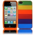 BasAcc Orange/ Rainbow Silicon Case for Apple iPhone 4GS/ 4G