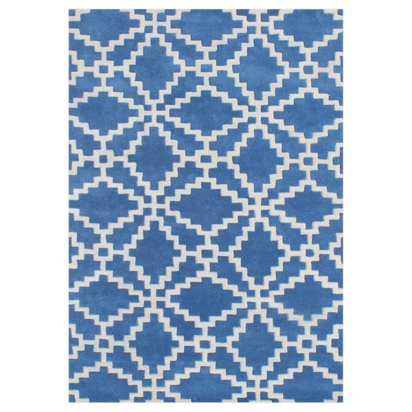 Alliyah Patriot Blue Handmade New Zealand Blended Wool Rug (9 x 12)