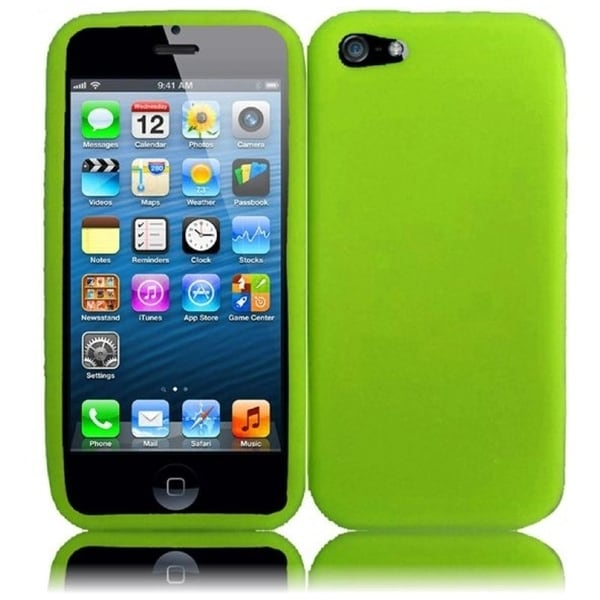 INSTEN Green Rubber Soft Silicone Soft Skin Gel Phone Case Cover for Apple iPhone 5/ 5S
