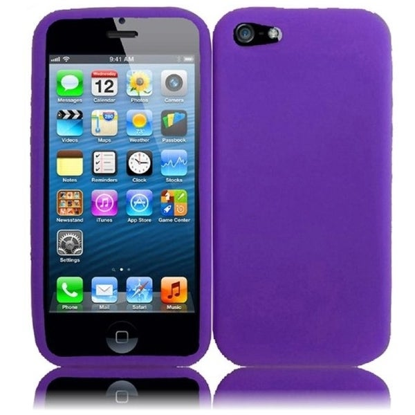 INSTEN Purple Rubber Soft Silicone Soft Skin Gel Phone Case Cover for Apple iPhone 5/ 5S