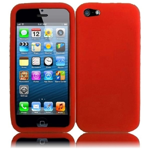 INSTEN Red Rubber Soft Silicone Soft Skin Gel Phone Case Cover for Apple iPhone 5/ 5S