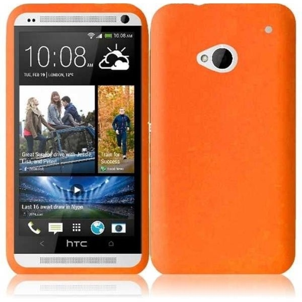 INSTEN Orange Soft Silicone Phone Case Cover for HTC One M7