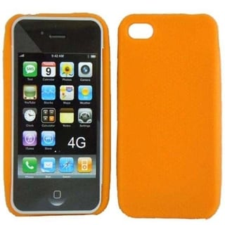 INSTEN Orange Rubber Soft Silicone Soft Skin Gel Phone Case Cover for Apple iPhone 4/ 4S