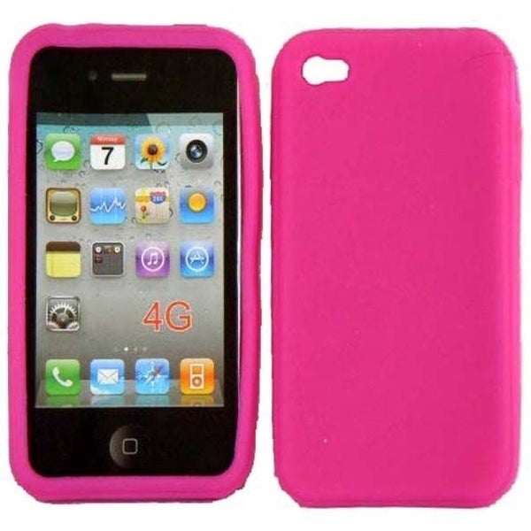 INSTEN Pink Rubber Soft Silicone Soft Skin Gel Phone Case Cover for Apple iPhone 4/ 4S