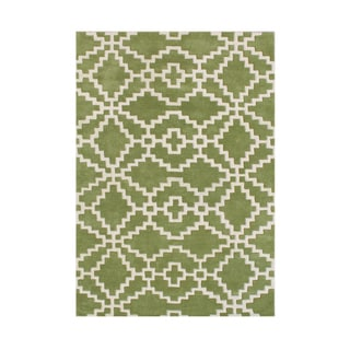 Handmade Lime Green Blended Wool Rug (8' x 10')