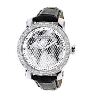 Luxurman Men's Black/ White World Map 0.18ct Diamond Watch