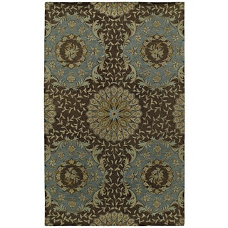 St. Joseph Chocolate Brown Damask Hand-Tufted Wool Rug (9'6 x 13'0)