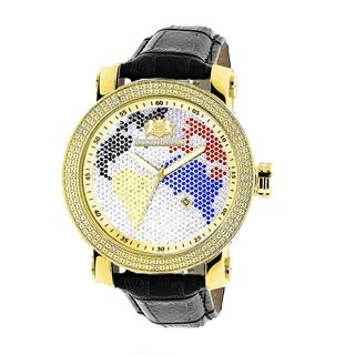 Luxurman Men's Multi-colored World Map 0.18ct Diamond Watch with Leather Strap Set