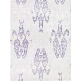 Hand-spun Sagano Zodiac Ivory/ Lilac Rug (8' x 11')