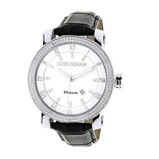 Luxurman Men's White Mother of Pearl Stainless Steel Watch