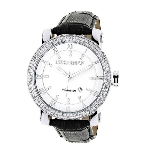 Luxurman Men's White Mother of Pearl Stainless Steel Watch with Leather Strap Set 12078833