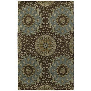 St. Joseph Chocolate Brown Damask Hand-Tufted Wool Rug (5'0 x 7'9)