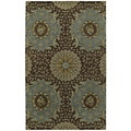 St. Joseph Chocolate Brown Damask Hand-Tufted Wool Rug (8'0 x 10'0)