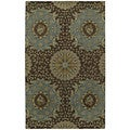 St. Joseph Chocolate Brown Damask Hand-Tufted Wool Rug (2'0 x 3'0)