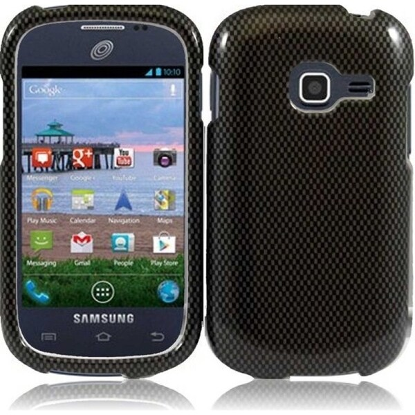 INSTEN Black Carbon Fiber Hard Plastic Snap-on Phone Case Cover for Samsung Galaxy Centura SGH-S738/ Discover SGH-S730