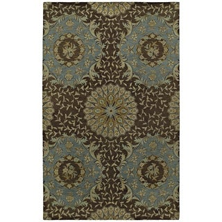 St. Joseph Chocolate Brown Damask Hand-Tufted Wool Rug (3'6 x 5'3)