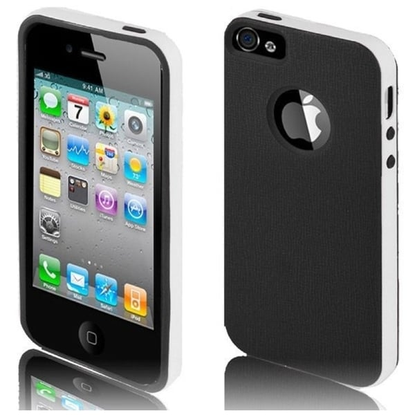 INSTEN Black/ White TPU Rubber Candy Skin Phone Case Cover for Apple iPhone 5/ 5S/ SE