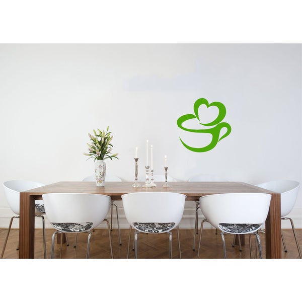 Cup of Coffee Heart Vinyl Wall Decal 12079092