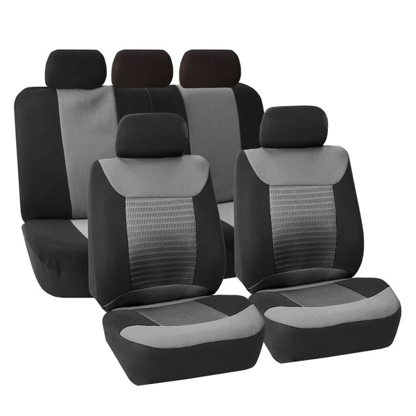 FH Group Grey Premium Fabric Airbag Compatible Car Seat Covers (Full Set) 12079096