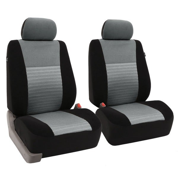 FH Group 'Trendy Elegance' Grey Airbag Compatible Front Bucket Seat Covers (Set of 2)