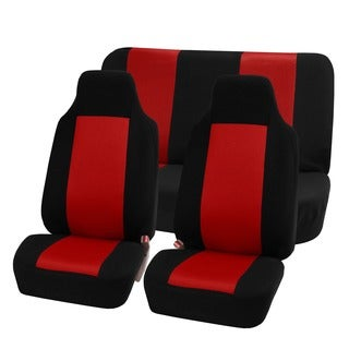 FH Group Red Premium Fabric Universal Fit Seat Covers Solid Bench (Full Set)