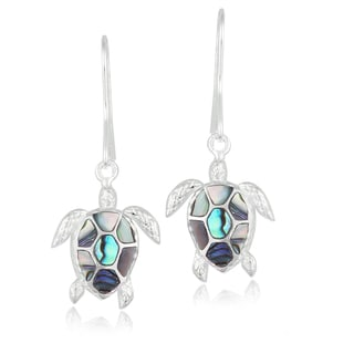 Glitzy Rocks Sterling Silver Abalone Turtle Earrings