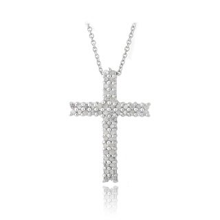 DB Designs Rhodium-plated Diamond Cross Necklace (I-J, I2-I3)