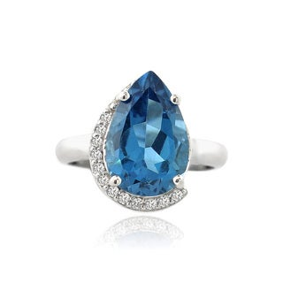 Glitzy Rocks Sterling Silver London Blue Topaz and Cubic Zirconia Teardrop Ring