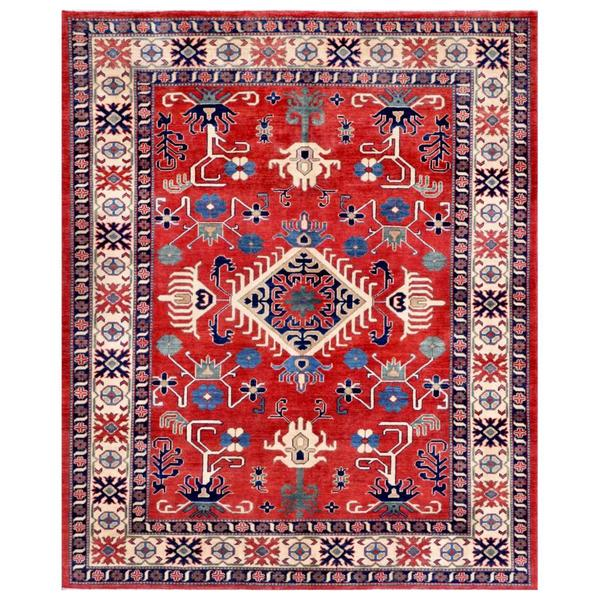 Afghan Hand-knotted Kazak Red/ Navy Wool Rug (6'8 x 8'1)