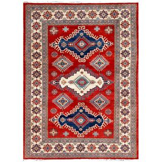 Afghan Hand-knotted Kazak Red/ Navy Wool Rug (6' x 9')