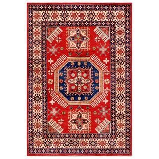 Afghan Hand-knotted Kazak Red/ Navy Wool Rug (5'5 x 7'11)