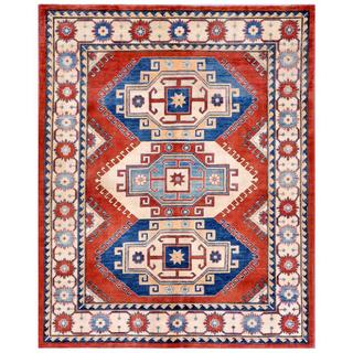 Afghan Hand-knotted Kazak Rust/ Blue Wool Rug (5'9 x 7'2)