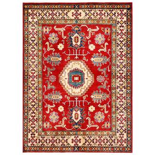 Afghan Hand-knotted Kazak Red/ Beige Wool Rug (6'4 x 8'4)