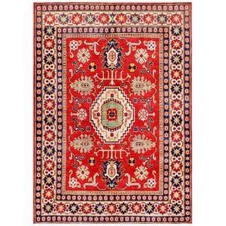 Afghan Hand-knotted Kazak Red/ Beige Wool Rug (5'11 x 8'6)
