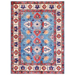 Afghan Hand-knotted Kazak Light Blue/ Ivory Wool Rug (4'11 x 6'8)