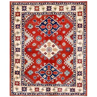Afghan Hand-knotted Kazak Red/ Ivory Wool Rug (4'9 x 5'9)