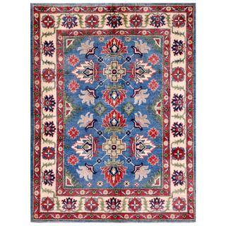 Afghan Hand-knotted Kazak Light Blue/ Beige Wool Rug (4'10 x 6'7)