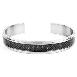 Crucible Stainless Steel Men's Black Carbon Fiber Inlay Cuff Bracelet