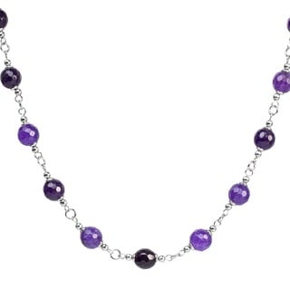 ELYA Stainless Steel Natural Purple Agate Stone Necklace