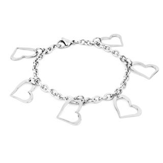 ELYA Stainless Steel Open Heart Dangle Charm Bracelet