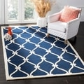 Safavieh Handmade Moroccan Cambridge Navy/ Ivory Wool Rug (6' x 9')