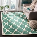 Safavieh Handmade Moroccan Cambridge Teal/ Ivory Wool Rug (6' x 9')