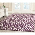 Safavieh Handmade Moroccan Cambridge Purple/ Ivory Wool Rug (4' x 6')